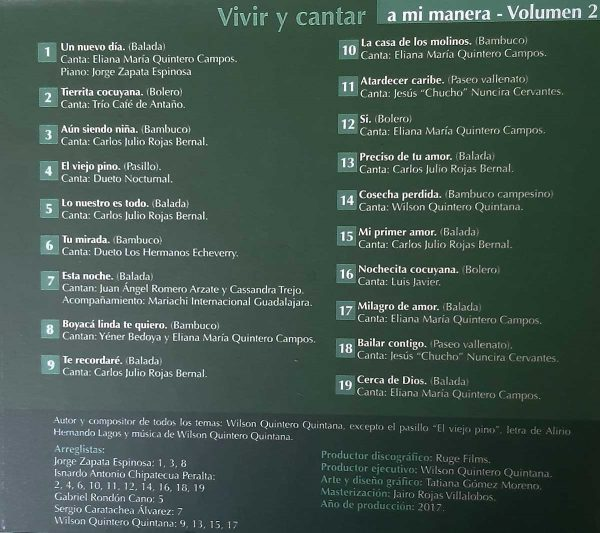 Vivir y cantar a mi manera - Volumen 2 - Wilson Quintero Quintana (El Cocuy, Boyacá)