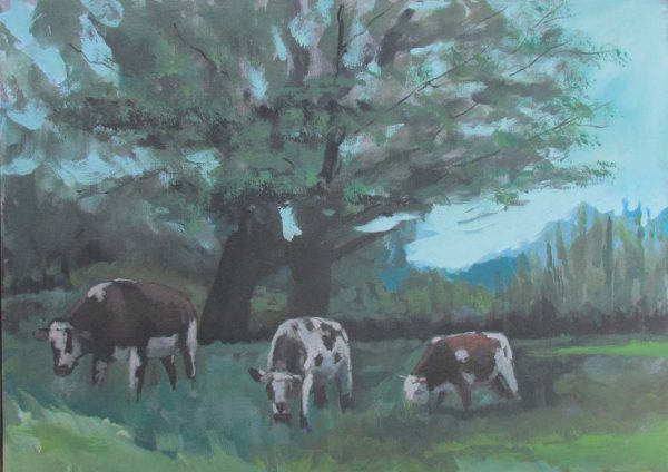 "Obra: ""Tres terneros en un potrero"". Autor: Neil Avella"